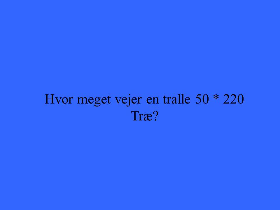 Hvor meget vejer en tralle 50 * 220 Træ?