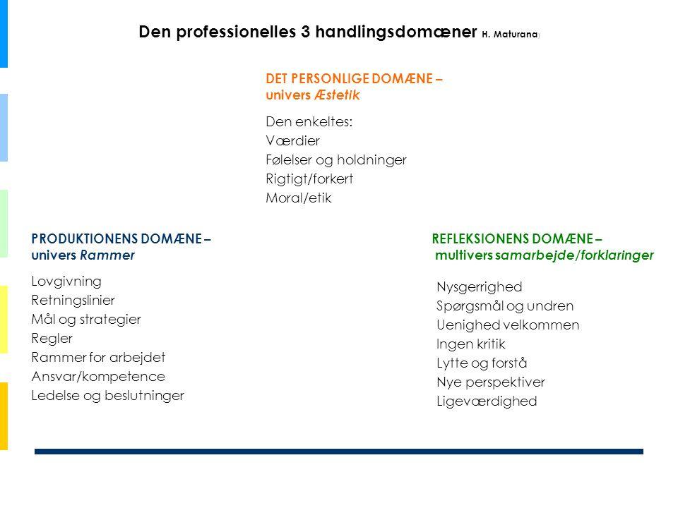 Den professionelles 3 handlingsdomæner H. Maturana ) Lovgivning Retningslinier Mål og strategier Regler Rammer for arbejdet Ansvar/kompetence Ledelse