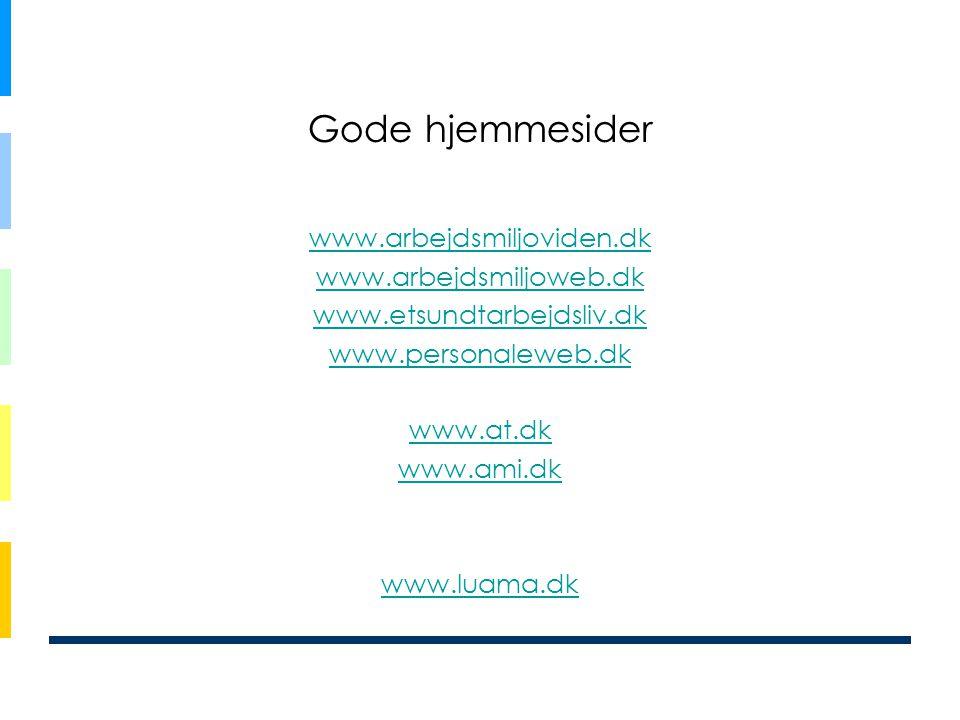 Gode hjemmesider www.arbejdsmiljoviden.dk www.arbejdsmiljoweb.dk www.etsundtarbejdsliv.dk www.personaleweb.dk www.at.dk www.ami.dk www.luama.dk