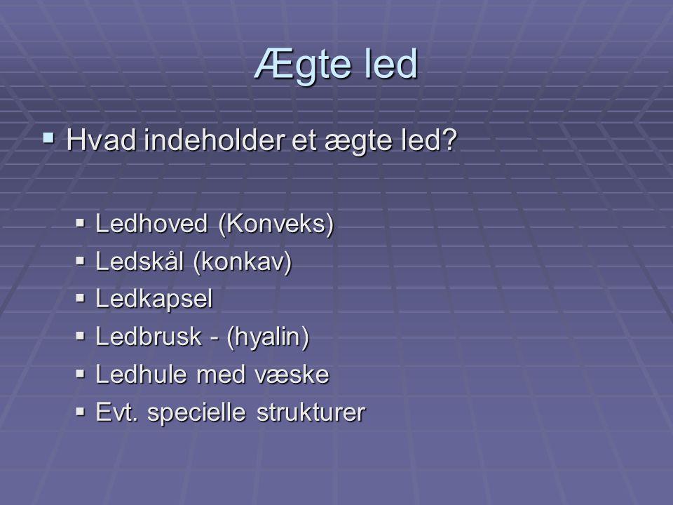 Ægte led  Kaldes også synoviale led, idet de har en ledhule, hvor der dannes synovia (ledvæske).