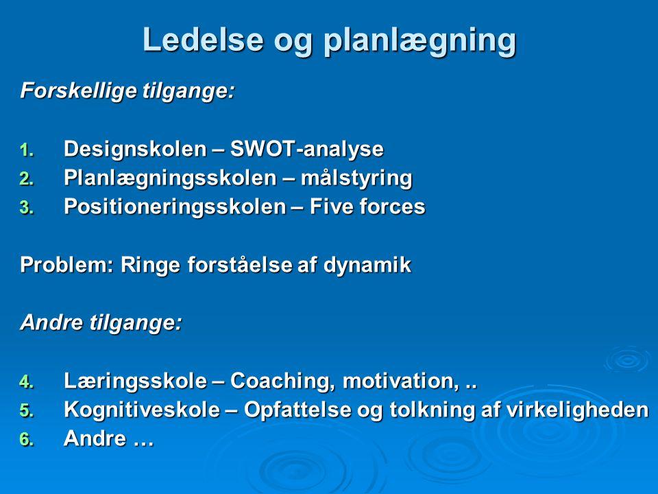 Ledelse og organisation(2) Tilbagestående områder: 1. Markedsføringsplanlægning 2. Personligt salg