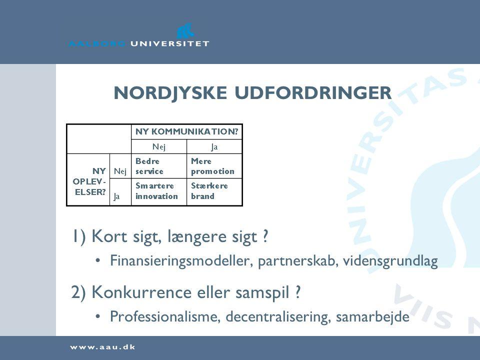 NORDJYSKE UDFORDRINGER 1) Kort sigt, længere sigt ? •Finansieringsmodeller, partnerskab, vidensgrundlag 2) Konkurrence eller samspil ? •Professionalis