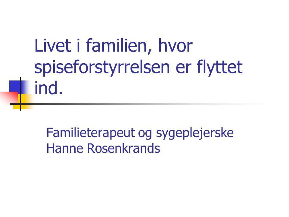 Program for dagen  Familiesynet i behandlingen  Familiedramaet  Skyld/ansvar – stress/konflikt  Parforhold – rollefordeling  Søskende