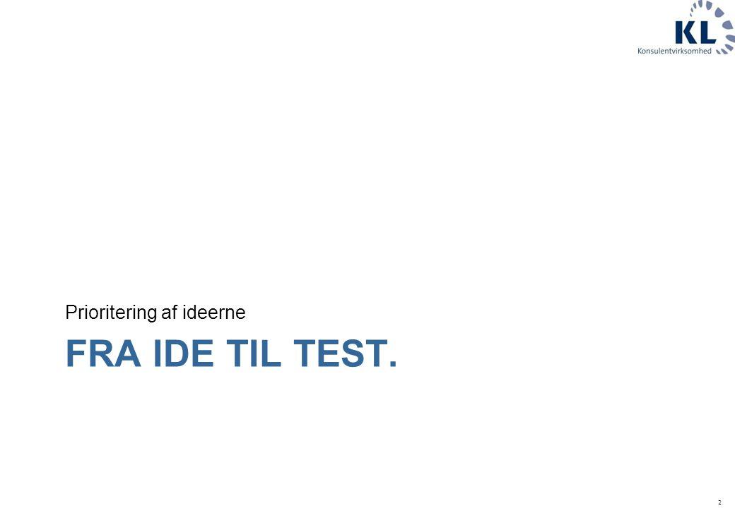 2 FRA IDE TIL TEST. Prioritering af ideerne