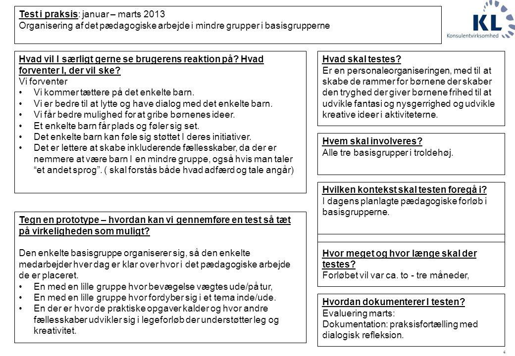 4 Test i praksis: januar – marts 2013 Organisering af det pædagogiske arbejde i mindre grupper i basisgrupperne Hvilken kontekst skal testen foregå i.