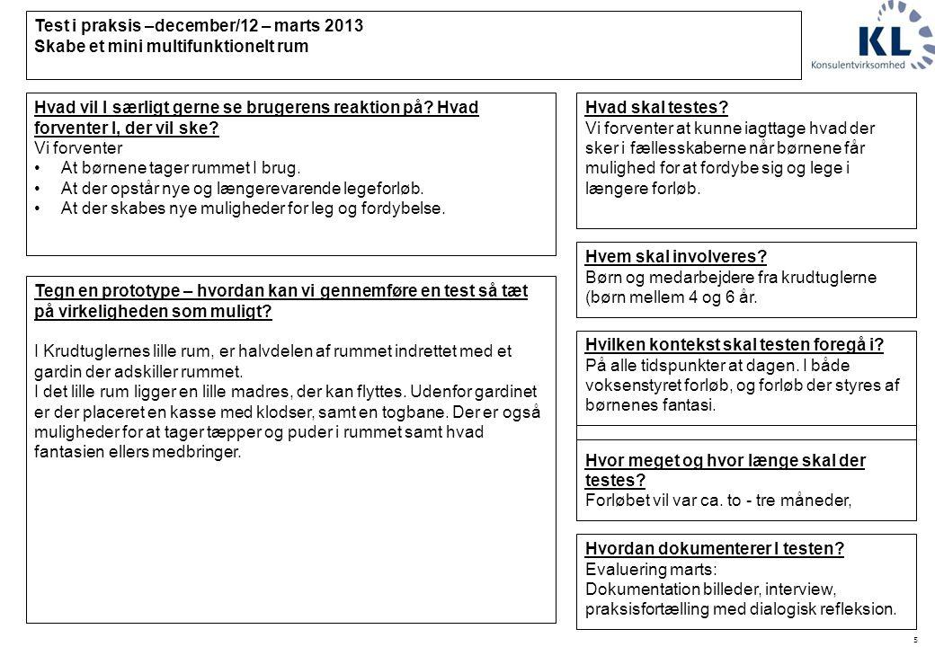 5 Test i praksis –december/12 – marts 2013 Skabe et mini multifunktionelt rum Hvilken kontekst skal testen foregå i.