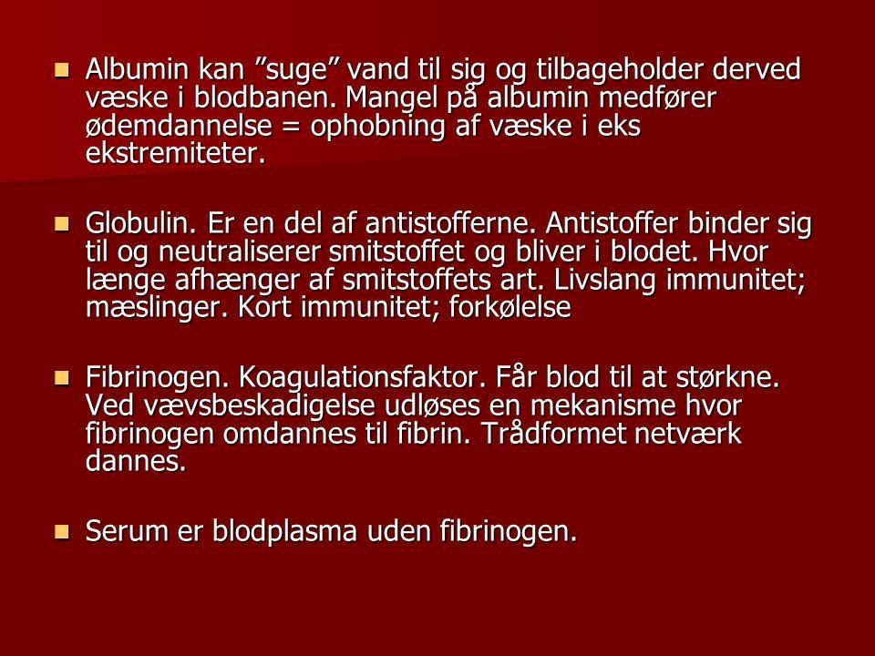  Albumin kan suge vand til sig og tilbageholder derved væske i blodbanen.