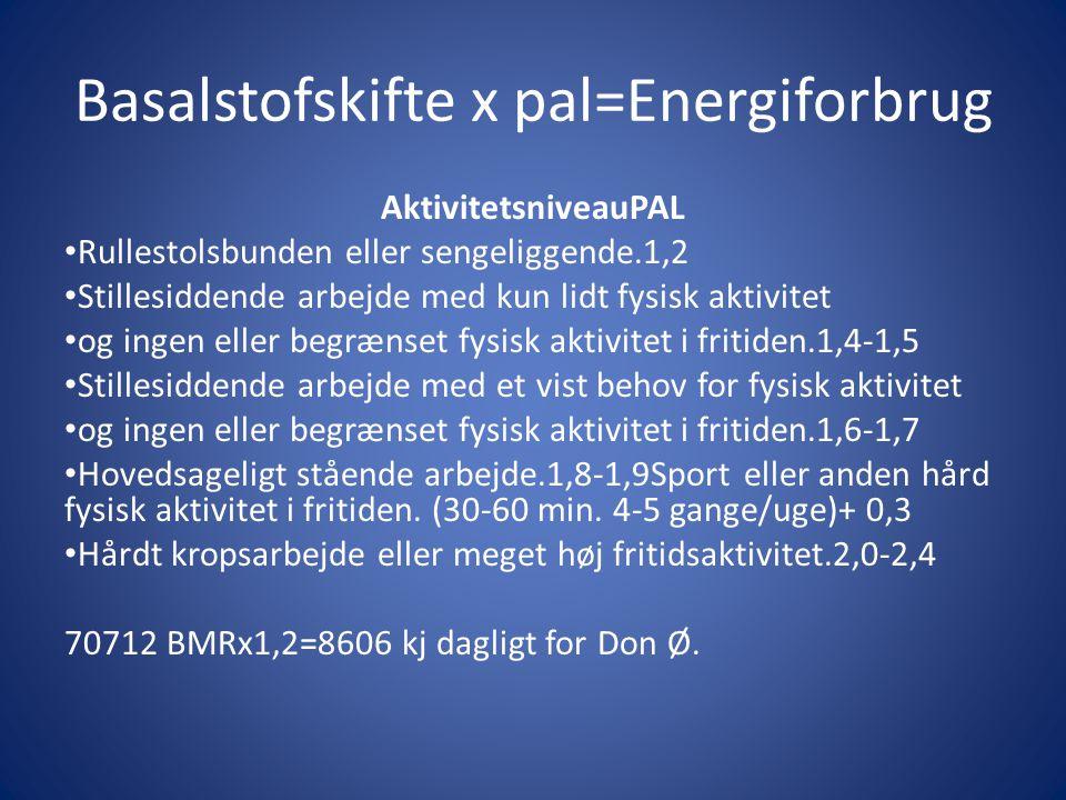 Basalstofskifte x pal=Energiforbrug AktivitetsniveauPAL • Rullestolsbunden eller sengeliggende.1,2 • Stillesiddende arbejde med kun lidt fysisk aktivi