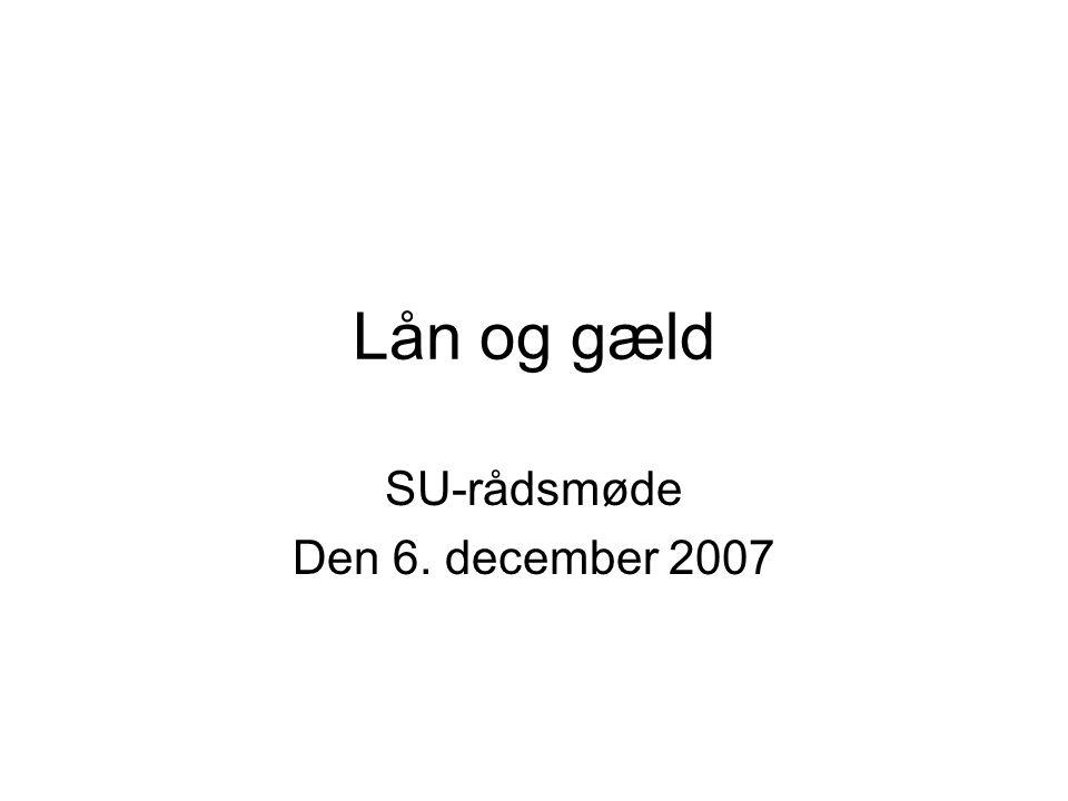 Lån og gæld SU-rådsmøde Den 6. december 2007
