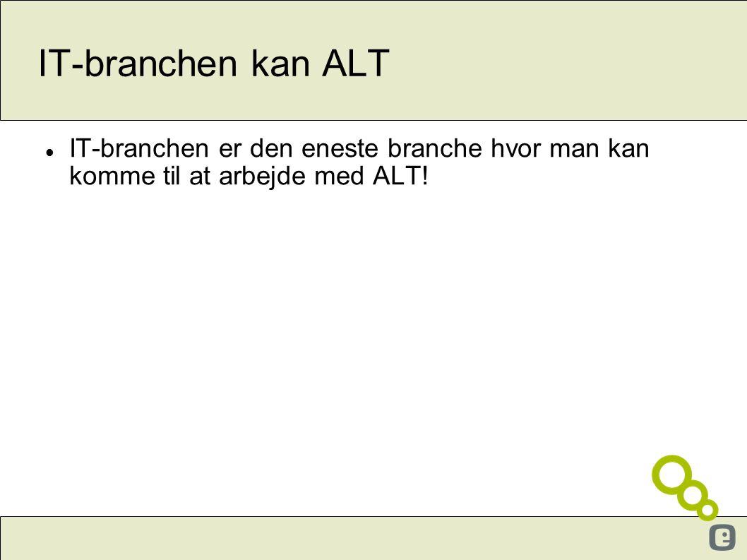 IT-branchen kan ALT  IT-branchen er den eneste branche hvor man kan komme til at arbejde med ALT.