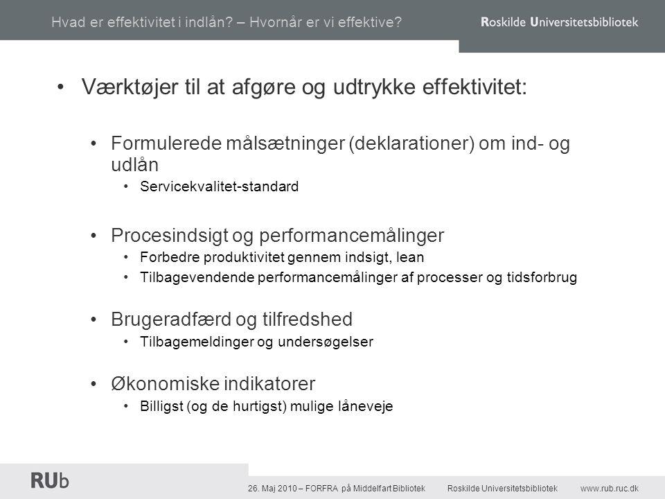 26. Maj 2010 – FORFRA på Middelfart Bibliotek Roskilde Universitetsbibliotekwww.rub.ruc.dk Hvad er effektivitet i indlån? – Hvornår er vi effektive? •