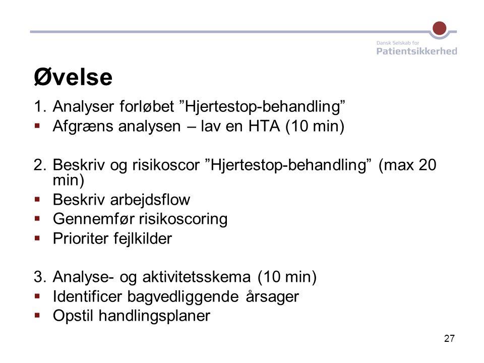 "27 Øvelse 1. Analyser forløbet ""Hjertestop-behandling""  Afgræns analysen – lav en HTA (10 min) 2. Beskriv og risikoscor ""Hjertestop-behandling"" (max"
