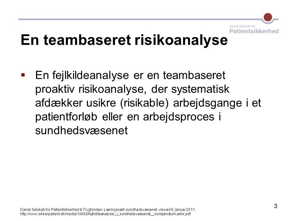 3 En teambaseret risikoanalyse  En fejlkildeanalyse er en teambaseret proaktiv risikoanalyse, der systematisk afdækker usikre (risikable) arbejdsgang