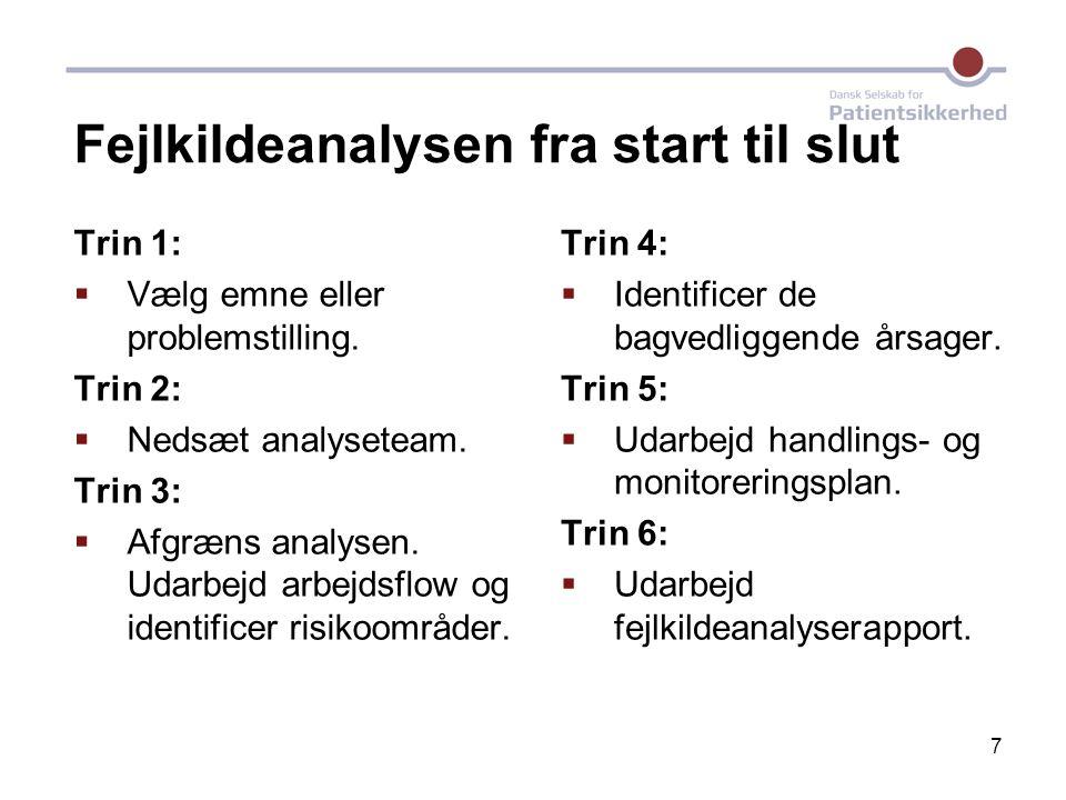 7 Fejlkildeanalysen fra start til slut Trin 1:  Vælg emne eller problemstilling. Trin 2:  Nedsæt analyseteam. Trin 3:  Afgræns analysen. Udarbejd a