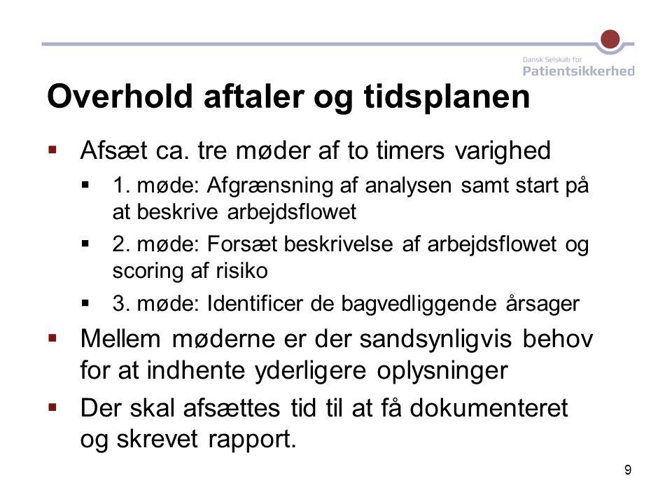 9 Overhold aftaler og tidsplanen  Afsæt ca. tre møder af to timers varighed  1. møde: Afgrænsning af analysen samt start på at beskrive arbejdsflowe
