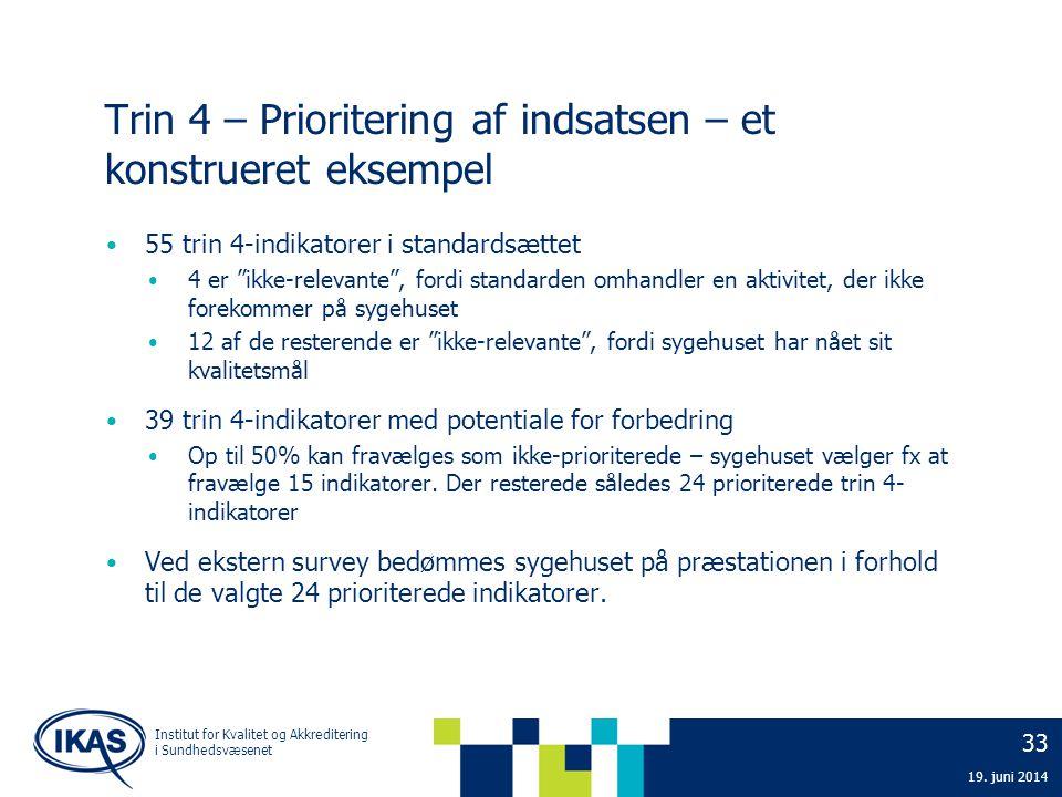33 19. juni 2014 Institut for Kvalitet og Akkreditering i Sundhedsvæsenet Trin 4 – Prioritering af indsatsen – et konstrueret eksempel • 55 trin 4-ind