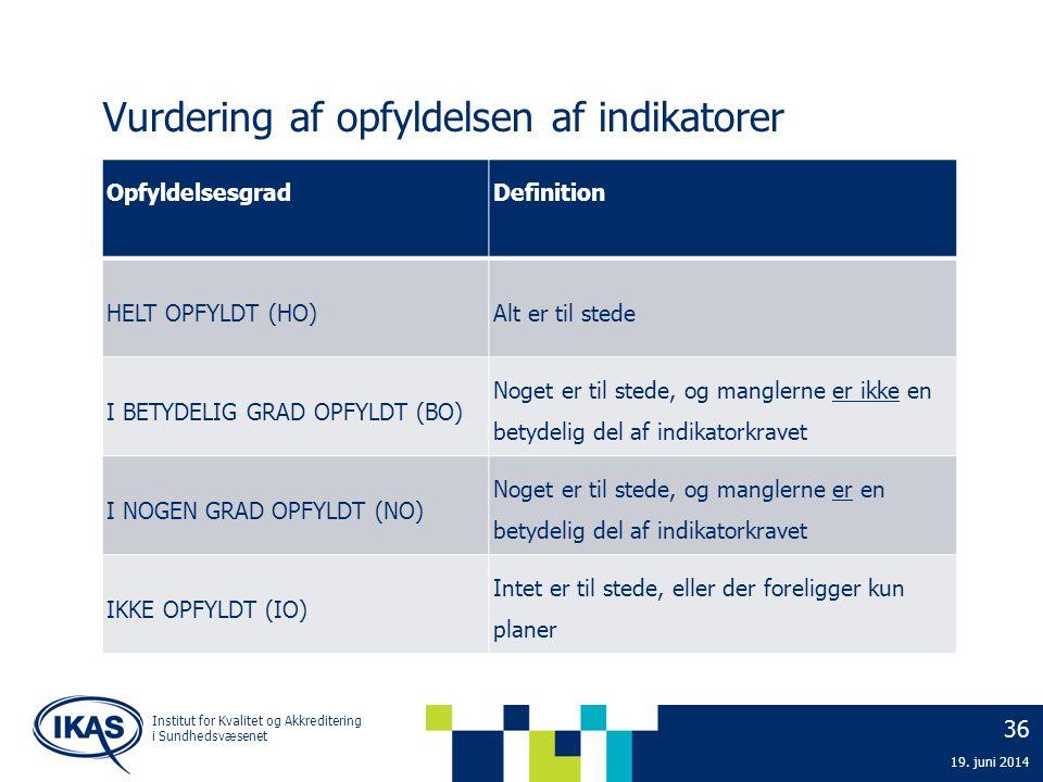 36 19. juni 2014 Institut for Kvalitet og Akkreditering i Sundhedsvæsenet Vurdering af opfyldelsen af indikatorer OpfyldelsesgradDefinition HELT OPFYL