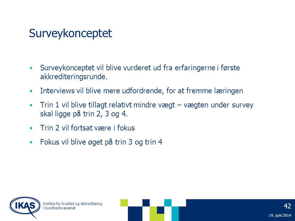 42 19. juni 2014 Institut for Kvalitet og Akkreditering i Sundhedsvæsenet Surveykonceptet • Surveykonceptet vil blive vurderet ud fra erfaringerne i f