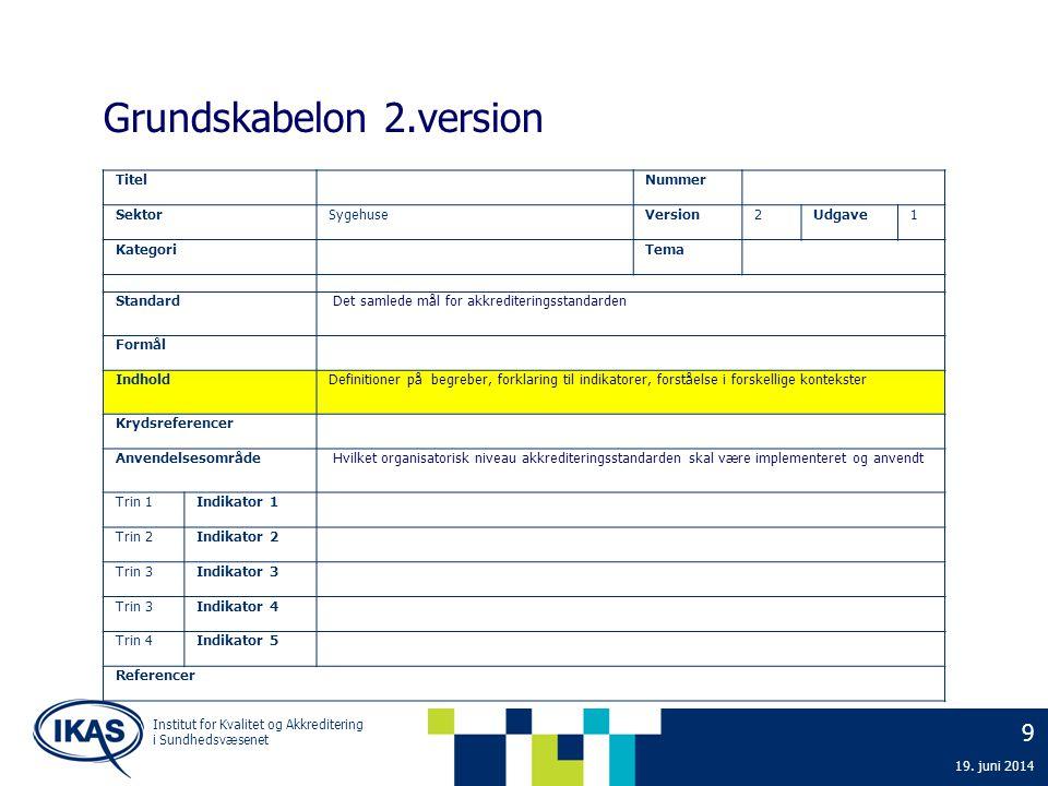 9 19. juni 2014 Institut for Kvalitet og Akkreditering i Sundhedsvæsenet Grundskabelon 2.version Titel Nummer SektorSygehuseVersion2Udgave1 Kategori T