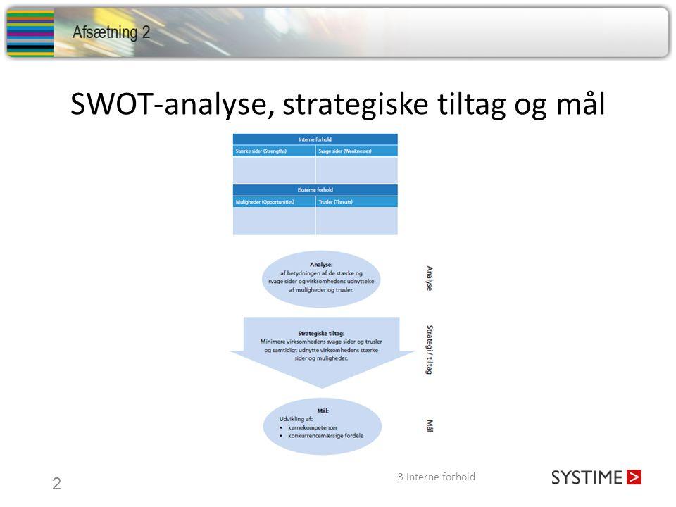 SWOT-analyse, strategiske tiltag og mål 3 Interne forhold 2