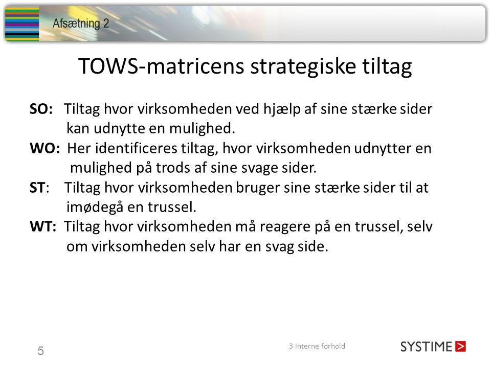 TOWS-matricens strategiske tiltag SO: Tiltag hvor virksomheden ved hjælp af sine stærke sider kan udnytte en mulighed. WO: Her identificeres tiltag, h