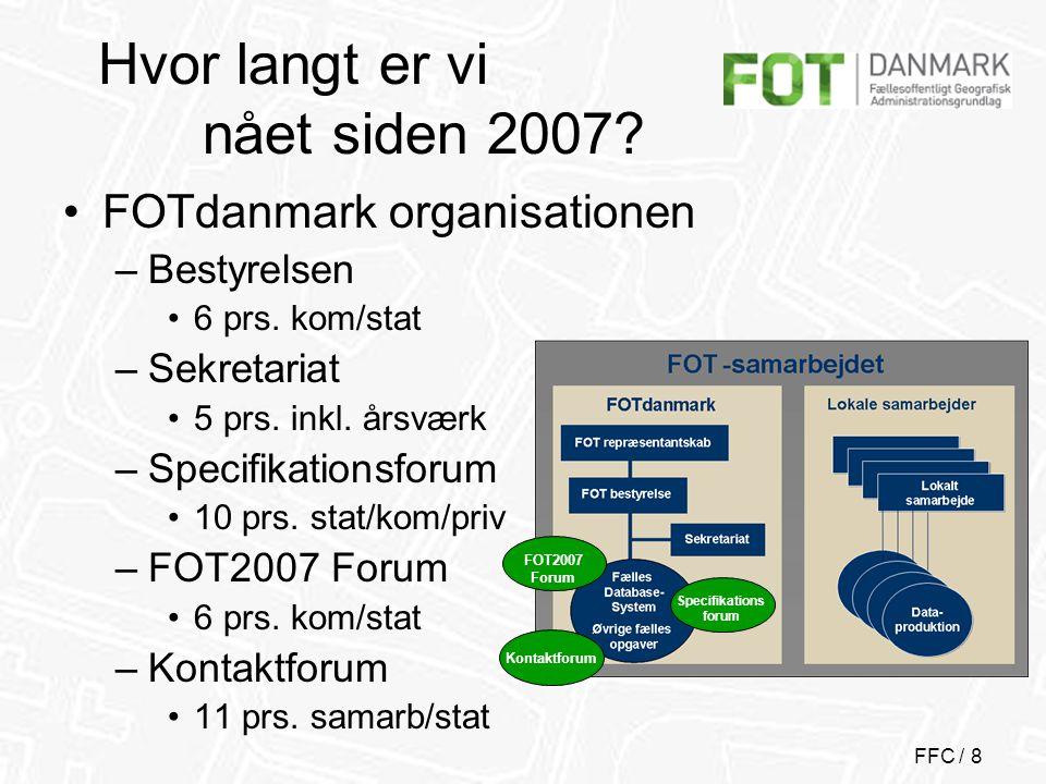 FFC / 8 Hvor langt er vi nået siden 2007. •FOTdanmark organisationen –Bestyrelsen •6 prs.