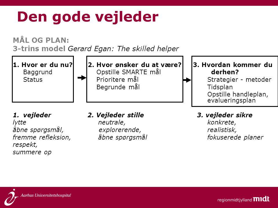 Den gode vejleder MÅL OG PLAN: 3-trins model Gerard Egan: The skilled helper 1. Hvor er du nu? 2. Hvor ønsker du at være? 3. Hvordan kommer du Baggrun