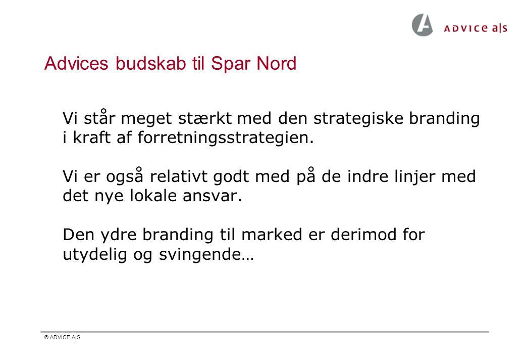 © ADVICE A|S Advices budskab til Spar Nord Vi står meget stærkt med den strategiske branding i kraft af forretningsstrategien. Vi er også relativt god