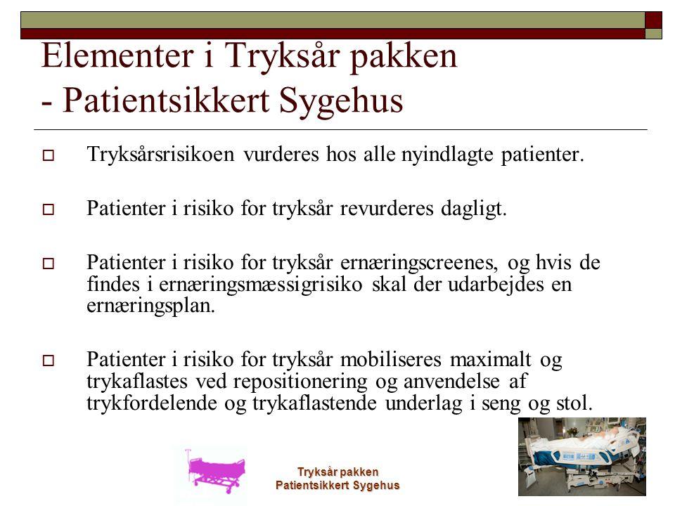 Tryksår pakken Patientsikkert Sygehus Elementer i Tryksår pakken - Patientsikkert Sygehus  Tryksårsrisikoen vurderes hos alle nyindlagte patienter. 