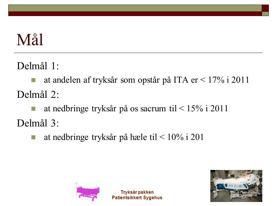 Tryksår pakken Patientsikkert Sygehus Mål Delmål 1:  at andelen af tryksår som opstår på ITA er < 17% i 2011 Delmål 2:  at nedbringe tryksår på os s