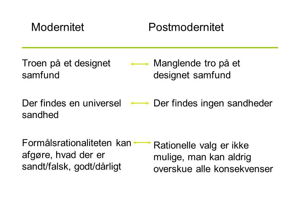 ModernitetPostmodernitet Troen på et designet samfund Der findes en universel sandhed Formålsrationaliteten kan afgøre, hvad der er sandt/falsk, godt/