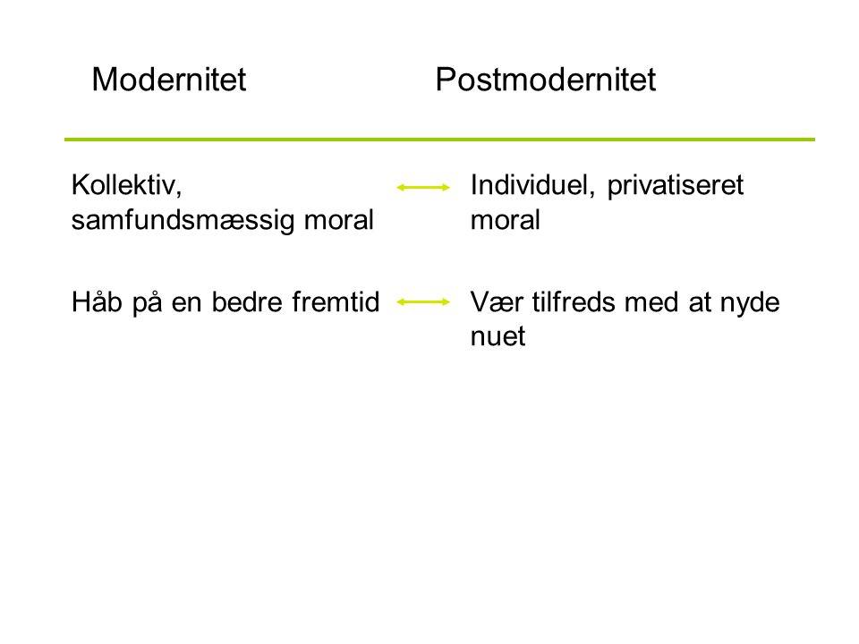 ModernitetPostmodernitet Kollektiv, samfundsmæssig moral Håb på en bedre fremtid Individuel, privatiseret moral Vær tilfreds med at nyde nuet