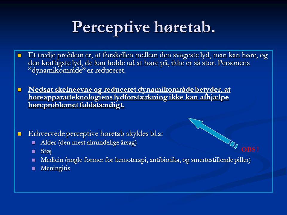 Perceptive høretab.  Et tredje problem er, at forskellen mellem den svageste lyd, man kan høre, og den kraftigste lyd, de kan holde ud at høre på, ik