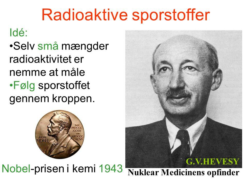 Radioaktive sporstoffer Idé: •Selv små mængder radioaktivitet er nemme at måle •Følg sporstoffet gennem kroppen. G.V.HEVESY Nuklear Medicinens opfinde
