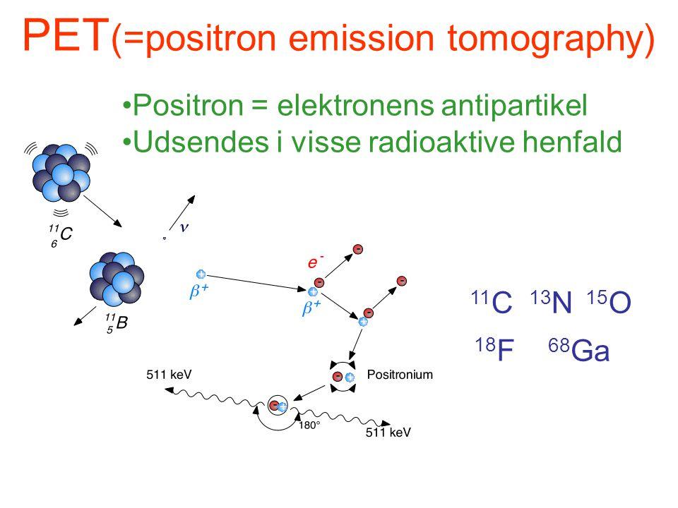 PET (=positron emission tomography) •Positron = elektronens antipartikel •Udsendes i visse radioaktive henfald 18 F 11 C 13 N 15 O 68 Ga
