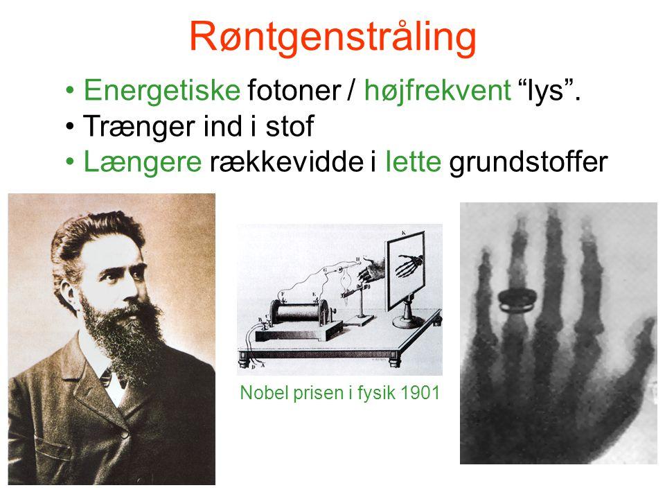 """Røntgenstråling • Energetiske fotoner / højfrekvent """"lys"""". • Trænger ind i stof • Længere rækkevidde i lette grundstoffer Nobel prisen i fysik 1901"""