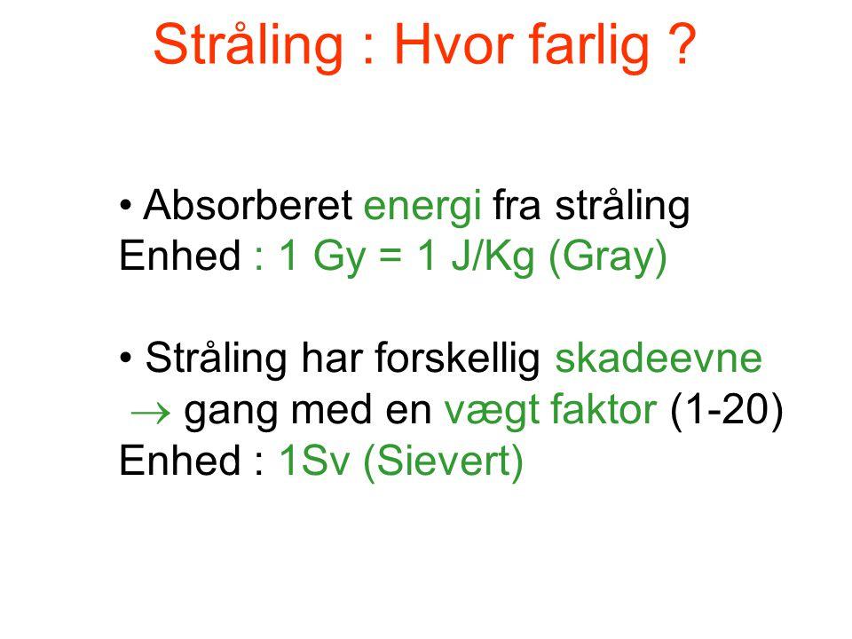 Stråling : Hvor farlig ? • Absorberet energi fra stråling Enhed : 1 Gy = 1 J/Kg (Gray) • Stråling har forskellig skadeevne  gang med en vægt faktor (