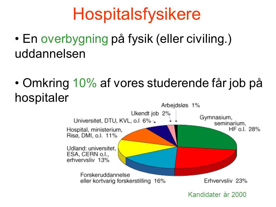 Hospitalsfysikere • En overbygning på fysik (eller civiling.) uddannelsen • Omkring 10% af vores studerende får job på hospitaler Kandidater år 2000