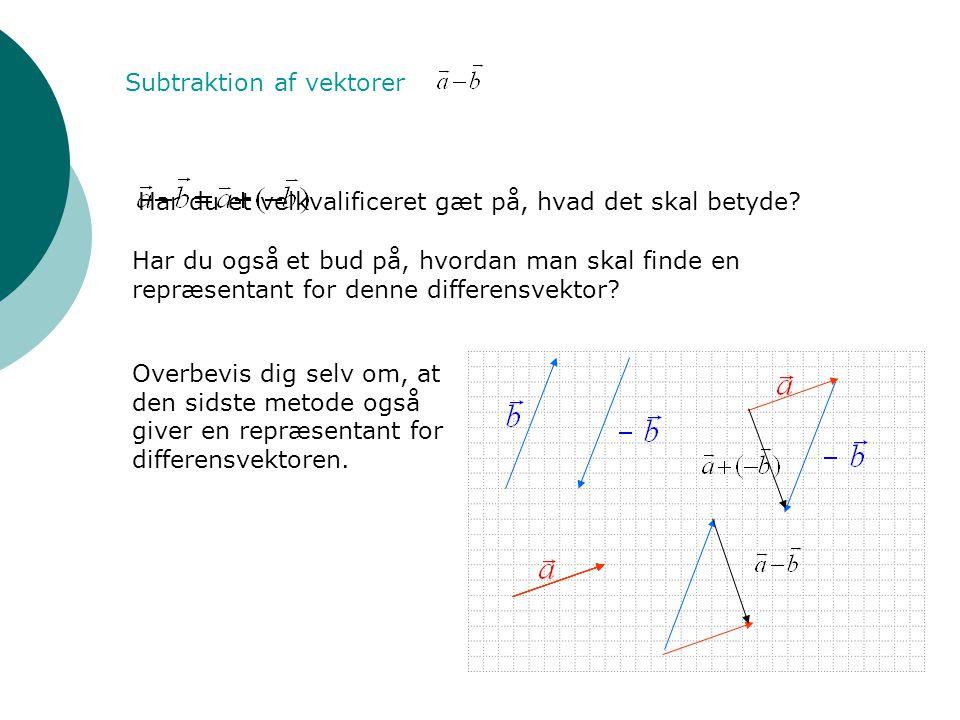 Subtraktion af vektorer Har du et velkvalificeret gæt på, hvad det skal betyde? Har du også et bud på, hvordan man skal finde en repræsentant for denn
