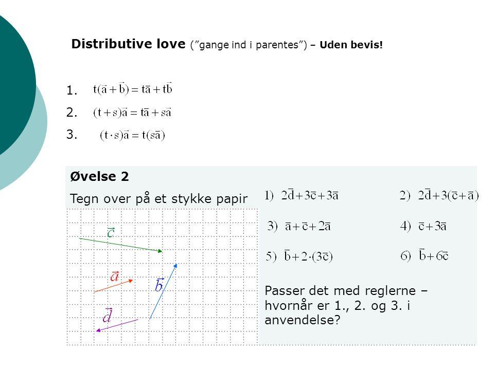"""1. 2. 3. Øvelse 2 Tegn over på et stykke papir Distributive love (""""gange ind i parentes"""") – Uden bevis! Passer det med reglerne – hvornår er 1., 2. og"""