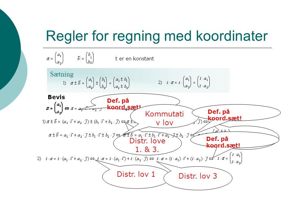 Distr. love 1. & 3. Sætning Regler for regning med koordinater t er en konstant Bevis Def. på koord.sæt! Associativ lov Kommutati v lov Def. på koord.