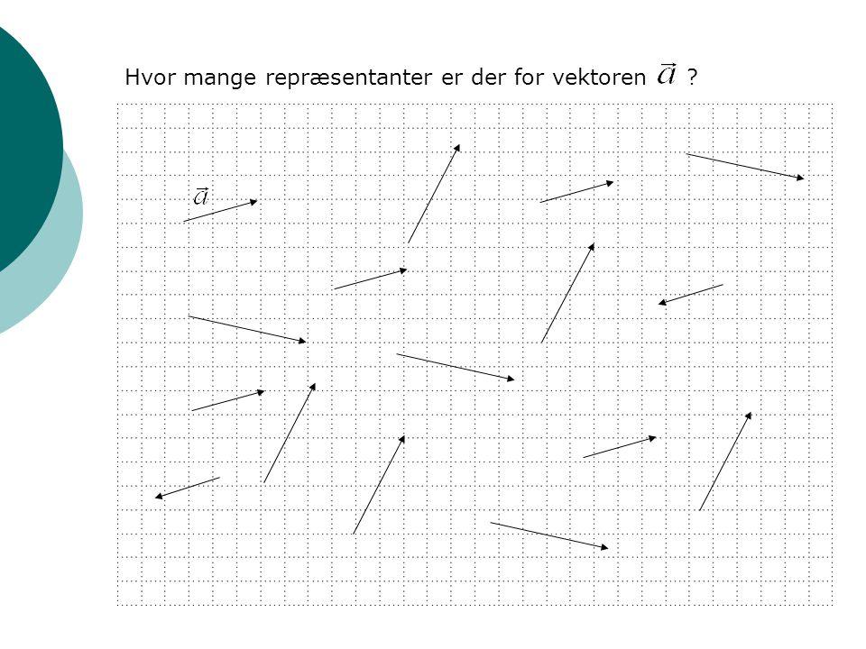 Hvor mange repræsentanter er der for vektoren ?
