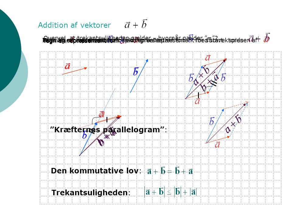   b a  Addition af vektorer Tegn en repræsentant for Anbring en repræsentant for en repræsentant for med start i spidsen af Pilen fra 's basis til