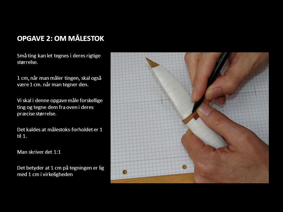 OPGAVE 2: OM MÅLESTOK Små ting kan let tegnes i deres rigtige størrelse. 1 cm, når man måler tingen, skal også være 1 cm. når man tegner den. Vi skal