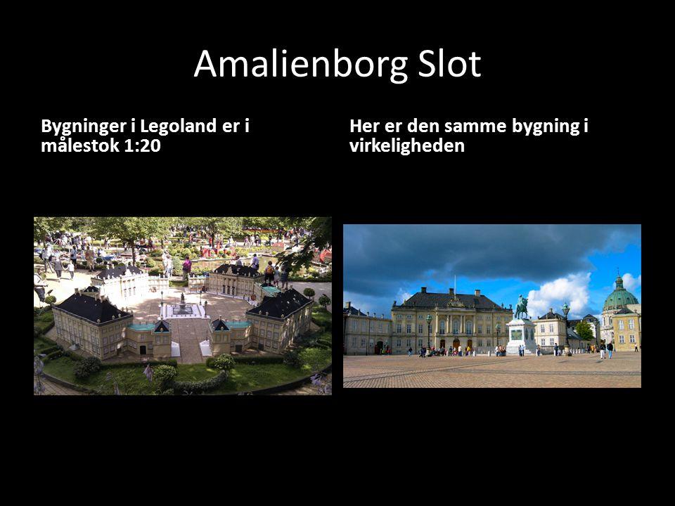Amalienborg Slot Bygninger i Legoland er i målestok 1:20 Her er den samme bygning i virkeligheden