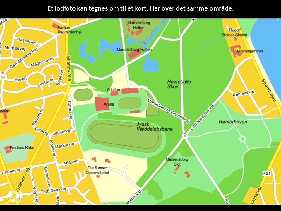 Et lodfoto kan tegnes om til et kort. Her over det samme område.