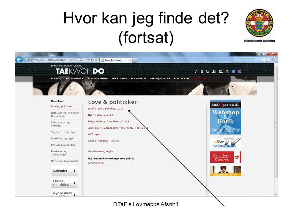 DTaF's Lovmappe Afsnit 1 § 12 •Referater kan findes her: http://www.taekwondo.dk/referater_hb_og_repmoeder.asp