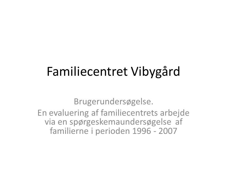 Undersøgelsen • Undersøgelsen er skabt ved at udsende et spørgeskema til samtlige familier, som har været i behandling på familiecentret i perioden, i alt 86 voksne.