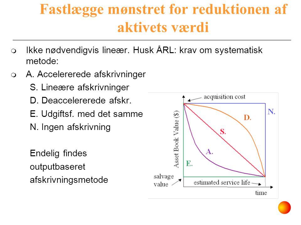 Fastlægge mønstret for reduktionen af aktivets værdi  Ikke nødvendigvis lineær. Husk ÅRL: krav om systematisk metode:  A. Accelererede afskrivninger