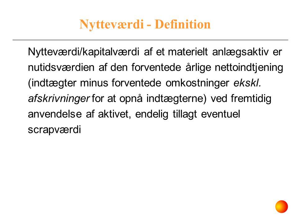 Nytteværdi - Definition Nytteværdi/kapitalværdi af et materielt anlægsaktiv er nutidsværdien af den forventede årlige nettoindtjening (indtægter minus